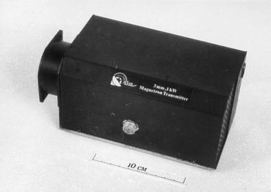 Photograph of 1 kW, 95 GHz transmitter with solid-state modulator.