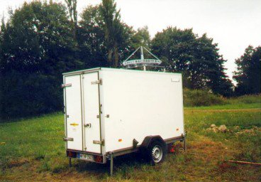 Meteorological radar placed in a car trailer